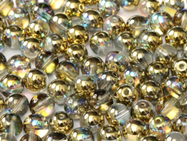 Tsjechisch/Czech rond Beads 4 mm Crystal Golden Rainbow, per 100 stuks