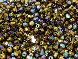 00030/98557 Fire polished 3mm Crystal Glittery Amber, 100 of 50 stuks, vanaf