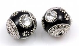 Kraal 19mm Kashmiri handgemaakt Zwart/Zilverkleur metaal en Strass, per stuk