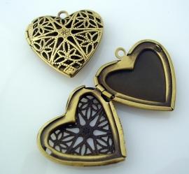 Medaillon hart antiek brons 26mm per stuk