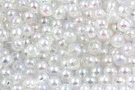 Acrylkraal 8mm ab wit / transparant per 25 gram ongeveer 110  stuks