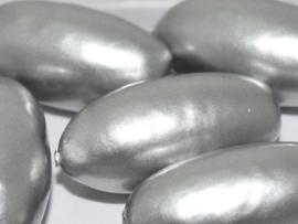 Paper Mache Olive 40x18mm Silver, per stuk
