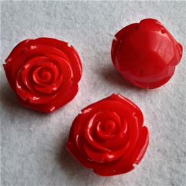 Kraal/Cabochon 34x20mm Roos handgesneden synthetisch Koraal Rood, per stuk