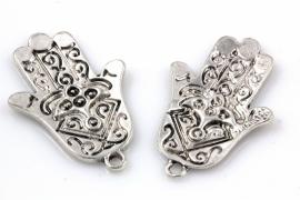 Handsa handje antiek zilverkleurig 35 bij 23 mm per 4 stuks
