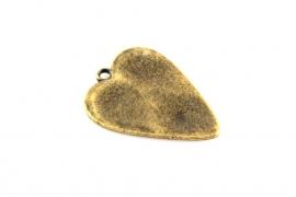 Hanger hart antiek brons 30 x22 mm per 1 of 10 stuks