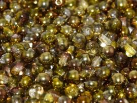 Tsjechisch/Czech rond 6mm Crystal Sunny Magic Gold, per 30 stuks