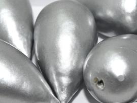 Paper Mache Drop 40x23mm Silver, per stuk
