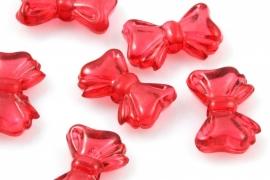 Acryl strikje rood 10 x 15mm per 10 gram ongeveer 28 stuks
