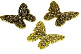 Hanger filligraan vlinder antiek Bronze 32mm per 4 stuks