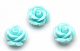 Kraal roos 11 mm Licht azuur blauw