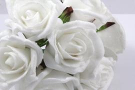Foamroos besuikerd wit 6cm per 5 stuks (pakketpost)