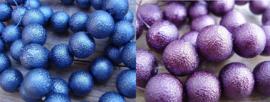 Iceparels 16mm donkerblauw en paars, per 8 stuks