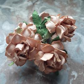 Roos 3,75cm Mulberry papier Mocca R21-40, per 3 stuks