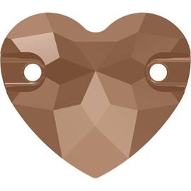 Swarovski #3259 Heart Sew-on Stone 16mm Crystal Rose Gold, per stuk