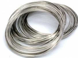 Memory wire zilverkleurig  5.5cm 0.5mm dik voor een armband 25 gram 50 cirkels