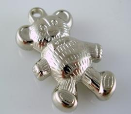 Hanger beertje zilverkleurig 36 bij 20 mm