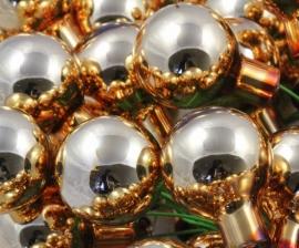Kerstballetje goud glimmend per 3 stuks op ijzerdraad