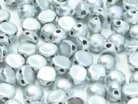 2-Hole Cabochon 6mm Etched Aluminium Silver, per 25 stuks