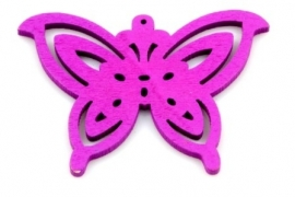 Hanger vlinder hout kersenpaars  50 bij 35 mm wit, per stuk