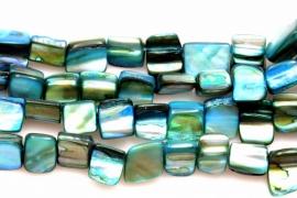 Schelp Kraal ±8mm Baroque Blokje Turquoise, per 40 stuks