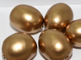 Paper Mache Olive 24x18mm Gold, per stuk