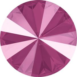 Swarovski #1122 14mm Rivoli  Crystal Peony Pink, per stuk