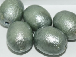 Paper Mache Olive 24x18mm Jeansblue, per stuk