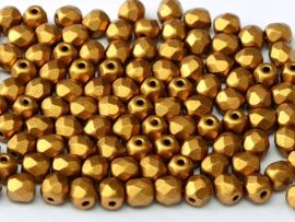 01740Fire polished 4mm Brass Gold, 100, of 50 stuks, vanaf