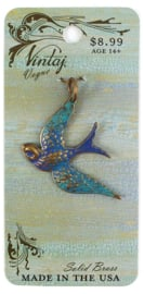 Vintaj Patina Fanciful Bird 42x31,5mm, Natural Brass
