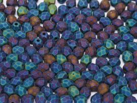 23980/21135Fire polished 4mm Jet Matted Blue Iris, 100, of 50 stuks, vanaf