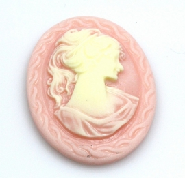 29x38mm ovaal vrouw met paardenstaart, zalm/crème, per stuk