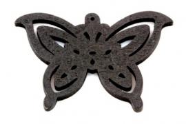 Hanger 50x35mm Hout Vlinder Zwart, per stuk