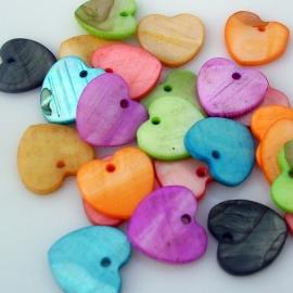 Zoetwaterschelp bedel hart mix 14mm per 50 stuks