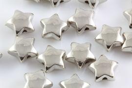 Kraal sterretje zilverkleurig acryl 7x4mm per 10 gram ongeveer 30 stuks