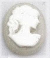 10x13mm ovaal vrouw grijs/wit, per stuk