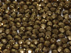 23980/90215Fire polished 3mm Jet Gold, 100 of 50 stuks, vanaf
