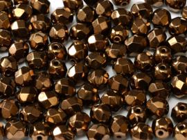 23980/14415Fire polished 4mm Jet Bronze, 100, of 50 stuks, vanaf