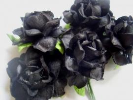 Roos 3,75cm Mulberry papier Zwart R21-274, per 3 stuks