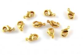 Karabijnslotje goudkleurig 10x5mm per 10 stuks