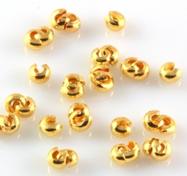 Knijpkraalverberger goudkleurig 3 mm bij 1.5 mm per 5 gram ongeveer 120 stuks