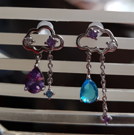 Oorhangers Silver Cloud met regendruppels, per paar