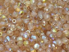 00030/98584 Fire polished 3mm Crystal Etched Lemon Rainbow, 100 of 50 stuks, vanaf