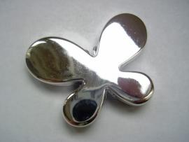 Zilverkleurige vlinder 4.5cm per 10 stuks