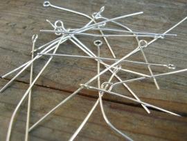 Kettelstiften zilverkleur 5cm per 10 gram ongeveer 45 stuks