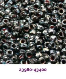MTB07-TP23980 Matubo Seed Bead 7/0 Jet Silver Picasso, per 10 gram