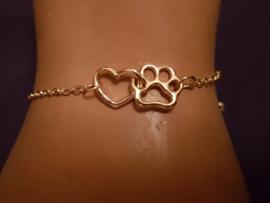 Armbandje fijntjes maar stevig, hartje/pootje, goudkleur, per stuk