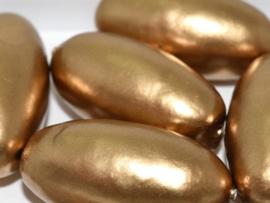 Paper Mache Olive 40x18mm Gold, per stuk