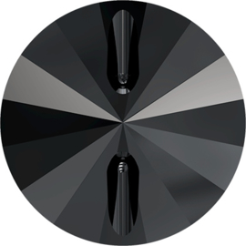 Swarovski #3015 Rivoli Button 16mm Black Diamond, per stuk