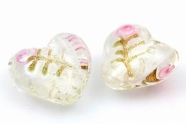 Lief en schattig lampworkhart van glas, wit met roze en goud 20mm per 10 stuks