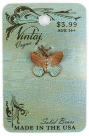 Vintaj Patina Butterfly Charm 19x15mm, Natural Brass, per stuk